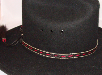 "cowboy hat bands, USA MADE 1/2"" Black & Hot Pink Horse Hair Hat Band,"