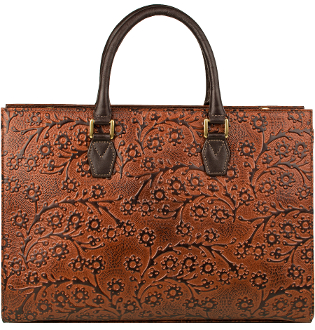 Tan Leather Sculy Floral Embossed Large Tote bag Handbag Purse