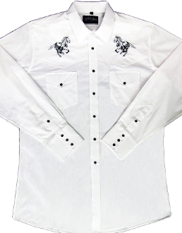 "Mens ""Black Horse"" White western shirt by White Horse by White Horse, Men's white retro western shirt, Mens western wear, western shirt, mens western shirt, western shirts for men, cowboy shirt,"