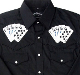 "This Men's ""Royal Flush"" Black western shirt features detailed embroidered playing cards with the winning hand of a royal flush complete with western yokes and front pockets with retro pearl snaps a staple item"