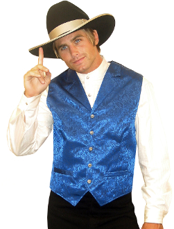 This Scully Mens USA Made royal blue Silk Lapel Western Vest is a classic 1800's old west frontier look for men in beautiful paisley silk with authentic pewter buttons for a retro vintage cowboy vest worn at any ranch style wedding.