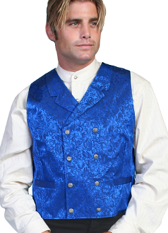 This Scully Mens USA Made Royal Blue Paisley Double Breasted Silk Vest is 100% silk vest for men that is perfect for a steampunk wedding or event with classic notched lapels, 2 front pockets and stamped metal buttons