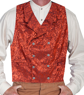 This Scully Mens USA Made Rust Paisley Double Breasted Silk Vest is 100% silk vest for men that is perfect for a steampunk wedding or event with classic notched lapels, 2 front pockets and stamped metal buttons