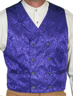 This Scully Mens USA Made Purple Paisley Double Breasted Silk Vest is 100% silk vest for men that is perfect for a steampunk wedding or event with classic notched lapels, 2 front pockets and stamped metal buttons