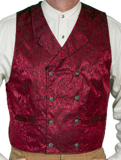 This Scully Mens USA Made Burgundy Paisley Double Breasted Silk Vest is 100% silk vest for men that is perfect for a steampunk wedding or event with classic notched lapels, 2 front pockets and stamped metal buttons