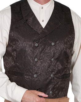 This Scully Mens USA Made Brown Paisley Double Breasted Silk Vest is 100% silk vest for men that is perfect for a steampunk wedding or event with classic notched lapels, 2 front pockets and stamped metal buttons