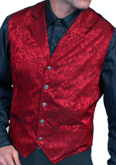 This Scully Mens USA Made red Silk Lapel Western Vest is a classic 1800's old west frontier look for men in beautiful paisley silk with authentic pewter buttons for a retro vintage cowboy vest worn at any ranch style wedding.