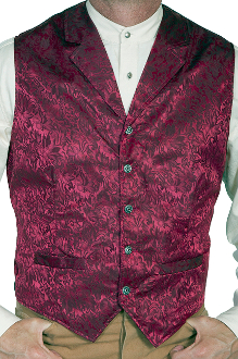 This Scully Mens USA Made Burgundy Silk Lapel Western Vest is a classic 1800's old west frontier look for men in beautiful paisley silk with authentic pewter buttons for a retro vintage cowboy vest worn at any ranch style wedding.
