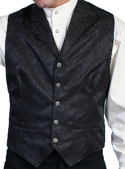 This Scully Mens USA Made black Silk Lapel Western Vest is a classic 1800's old west frontier look for men in beautiful paisley silk with authentic pewter buttons for a retro vintage cowboy vest worn at any ranch style wedding.