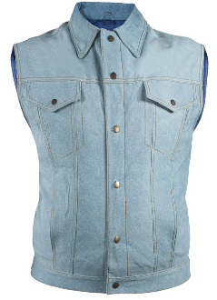 This Mens Denim Leather Button Front Western Vest gives you liberation to feel welcomed to wear this daily because it looks like a blue jean vest but with the warmth of leather.