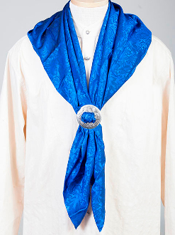 "This Authentic silk jacquard royal blue scarf was made in the USA. It is 40""x 40"" and goes perfect with your old west attire. This gentlemens jacquared scarf is made of fine quality China Silk in the USA"