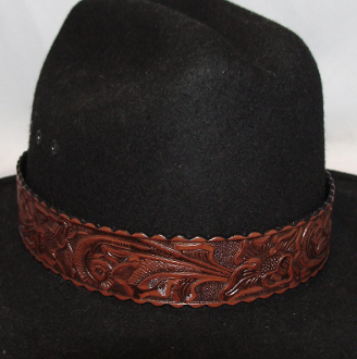 "This 1.5"" Tooled leather Brown Cowboy Hat Band is for the person who is looking for a larger fitting hat band. This real leather tooled hat band fits the bigger cowboy hat sizes."