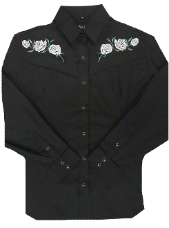 This Womens White Rose Embroidered Pearl Snap Black Western Shirt has roses on the front and back including the vintage piping and retro pearl snaps. It's a cowgirl western classic shirt.