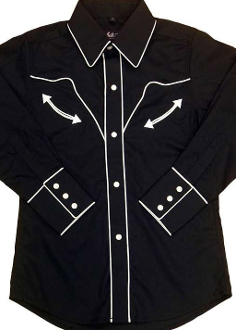 This Child vintage White piped Black western shirt is just like dad's or grand-dad's or mom's shirt with the same quality to match. Kids sized cowboy shirt with white vintage pipping and peal snaps.