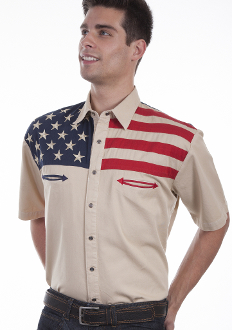 This Scully Mens Antique Stars and Stripes Short Sleeve Flag Shirt is a fashionable way to show your patriotic pride. Mens western flair short sleeve shirt is made of 100% cotton with pearl snaps.