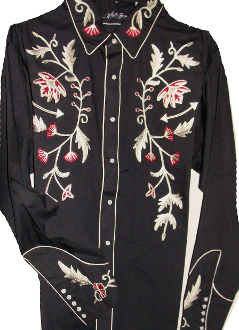 This Mens White Horse Ranch Flower Western shirt has beautiful red and silver embroidery with vintage arrow smiley pockets and pearl snaps.