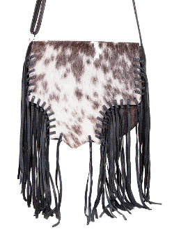 "This ""Dakota"" Scully Black Leather Hair on Hide fringe Western Purse is a hand whip stitched cowhide hair unique handbag with a magnetic flap closure at 15"" long x 10"" high"