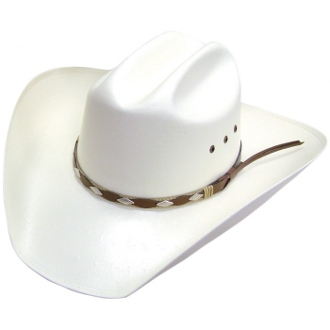 "The""Shantung Rider"" Brown Band 100X Straw Cattleman Cowboy Hat made for high class style for a western rodeo guy or gal on the old range or ranch. This stylish cowboy hat has a silver hat band to show off your classy western self."