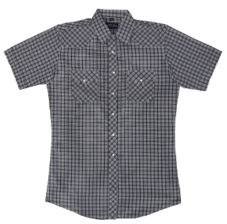 This Mens White Black Plaid Short Sleeve Pearl Snap Western Shirt is great for the spring and summer camping shirt in a comfortable short sleeve with the retro pearl snaps for men.
