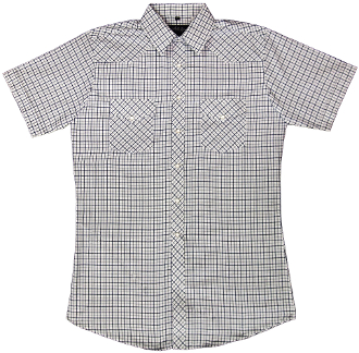 This Mens White & Navy Short Sleeve Pearl Snap Western Shirt is great for the spring and summer camping shirt in a comfortable short sleeve with the retro pearl snaps for men.