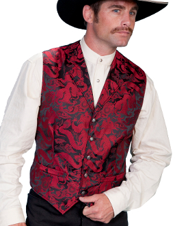 This Scully Mens Lapel Red Dragon Dress Vest features a rich red and black dragon design on this polyester western style dress vest great for weddings and special occasions for men.