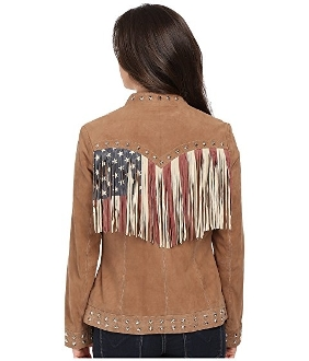 "This ""Patriotic Spirit"" Womens Scully Lambskin USA Flag Fringe Jacket is one you won't find ever again with star studs and the usa flag fringe colors celebrating the usa spirit in a western jacket."