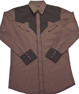 Men S Black And Brown Two Tone Piped Retro Western Shirt