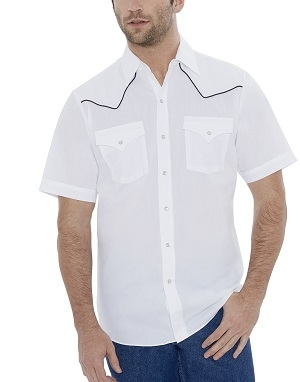 This Mens Ely Short Sleeve Black Piped White Western Shirt has western piped yokes and front pockets with retro pearl snaps with matching western shirt