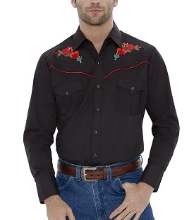 This Red Piped Red Rose Mens black Western Shirt features embroidered red roses western piped yokes front pockets retro pearl snaps with matching western shirt for both women and men available.