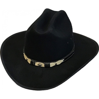 "This ""Ranger Jr"" Faux Wool Kids Black Cowboy Hat is perfect for the little cowboys and cowgirls who love to play or show the western spirit in them. Mexican Wool cowboy hat with a leatherette two toned hat band."