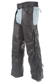 Black Cowhide leather braided fringe chaps, western chaps
