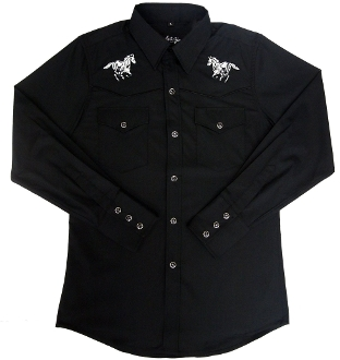 This Kids Horse Embroidered Black Western Shirt is just like dad's or grand-dad's shirt with the same quality to match. Kids sized cowboy shirt with white horse embroidered and peal snaps.