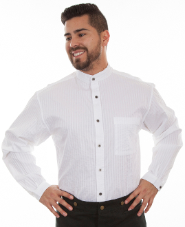 This Mens Scully white Tone on Tone Banded Collar Shirt is great for dress up or casual wear. The black shirt features contrasting tone on tone stripes on a banded collar and a full button front complete with a left chest pocket.