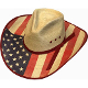 This Sahuayo Straw USA American Flag Cowboy Hat has the stylish pinch front crown with the red and blue stars and stripes to show off you are proud to be American. 4th of July or any Patriotic even or parade.