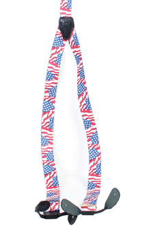 "These Rangewear USA American Flag Y Back Womens Suspenders 1.5"" are a great way to show your American pride while looking great in your old frontier style suspenders made just for women."