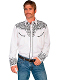 This Mens Scully Black Rockabilly Scroll White Western Shirt has detailed white embroidered thick piping on this modern looking western shirt with the smiley pockets and black pearl snaps.