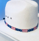 "This Glass quill 5 strand ""USA Flag"" hat band is proudly made in the USA with 1/2 inch wide glass quill beads and really adds to your cowboy or cowgirl hat band with each strand being made with pride in the USA."