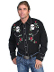 "The Mens ""Skull and Roses"" western shirt by Scully is a rare find for the man who digs skulls and roses on a cowboy shirt with pearl snaps embroidery and Smiley pockets that Gene Simmons wears."