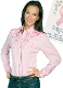 "This Scully Ladies ""Pink Ribbon Shirt"" western shirt with embroidered floral top and back yokes with twisted piping and smiley pockets closed up with matching pearl snaps make a great country western pink ribbon shirt."