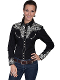 "This ""Silver Lady Gunfighter"" Scully womens Black western shirt is a popular matching western shirt for his and hers matching shirts with embroidered floral top and back yokes with twisted piping"