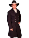 This stunning USA Made 100% Wool Mens Scully Black Double Breasted Frock Coat has two contrasting fabrics in the collar. Soild velvet and an embossed cotton. Features beautiful silver concho buttons.100% wool.Made in usa.