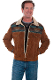 This Scully Mens DAKOTA Cafe Suede Wool with Fur Collar Western Jacket has a unique Indian blanket top with matching suede bottom that is soft to the touch and comfortable to wear with faux shearling or sheepskin