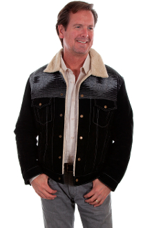 This Scully Mens DAKOTA black suede Wool with Fur Collar Western Jacket has a unique Indian blanket top with matching suede bottom that is soft to the touch and comfortable to wear with faux shearling or sheepskin