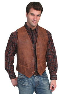 This Mens Scully Cowhide Vintage Leather Brown Western Vest has a 5 button front and 2 front pocket with single point western yokes & an inner pocket with soft Acetate lining, a true cowboy vest for men.