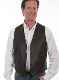 This Mens Scully Lambskin Leather Traditional Black Western Vest has a 5 button front and 2 front pocket with single point western yokes & an inner pocket with soft Acetate lining, a true cowboy vest for men.