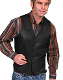 This Mens Scully Lambskin Leather Antique Black Western Vest has a 5 button front and 2 front pocket with single point western yokes & an inner pocket with soft Acetate lining, a true cowboy vest for men.