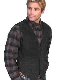 This Scully Mens Boar Suede Black Western Dress Vest is the perfect wedding vest for men also available in matching for kids and economically priced to please the bride and yet a perfect cowboy look