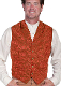 This Scully Mens USA Made Rust Silk Lapel Western Vest is a classic 1800's old west frontier look for men in beautiful paisley silk with authentic pewter buttons for a retro vintage cowboy vest worn at any ranch style wedding.