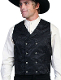This Scully Mens USA Made Black Paisley Double Breasted Silk Vest is 100% silk vest for men that is perfect for a steampunk wedding or event with classic notched lapels, 2 front pockets and stamped metal buttons