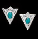 These Large Sterling Silver Turquoise Collar Tips have a round stone center on a sterling sliver plated collar tip which is a great way to dress up your cowgirl or cowboy shirt.